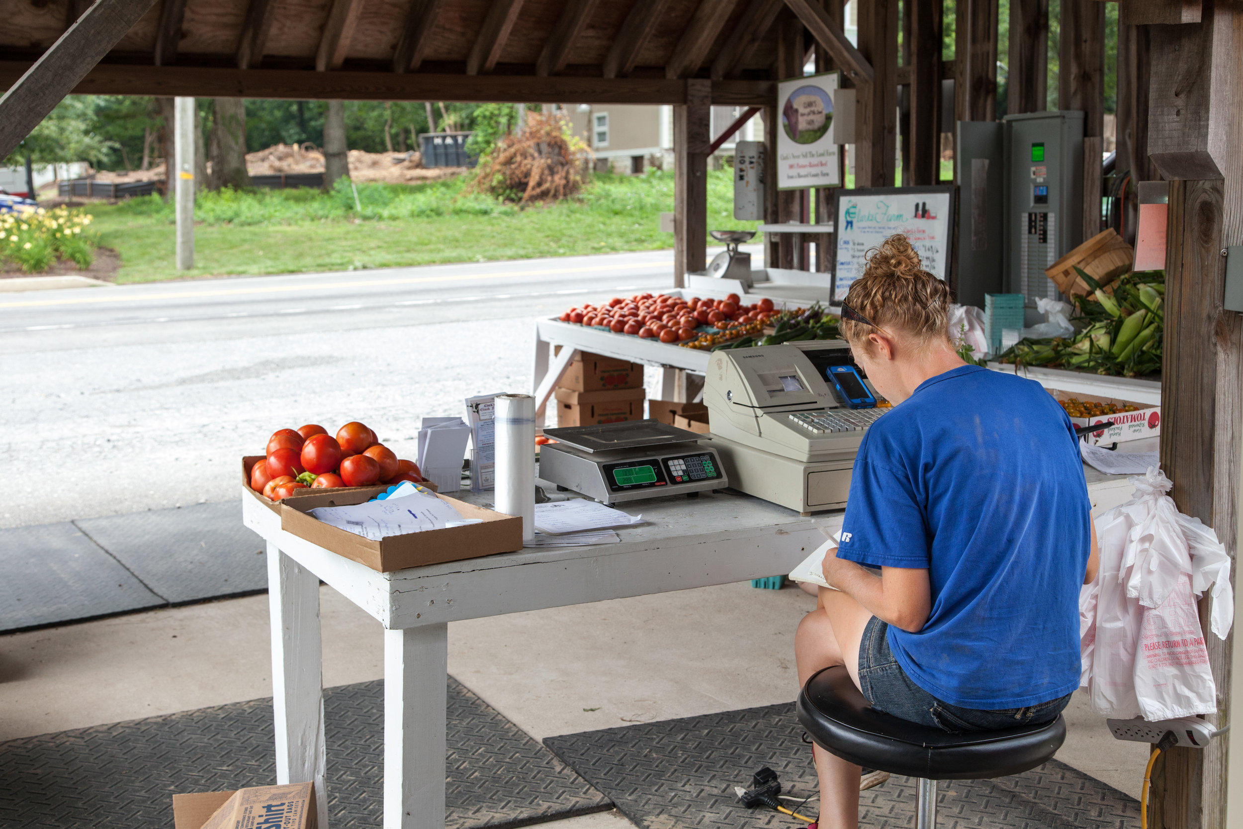 Nora waits for customers at the family farm stand.