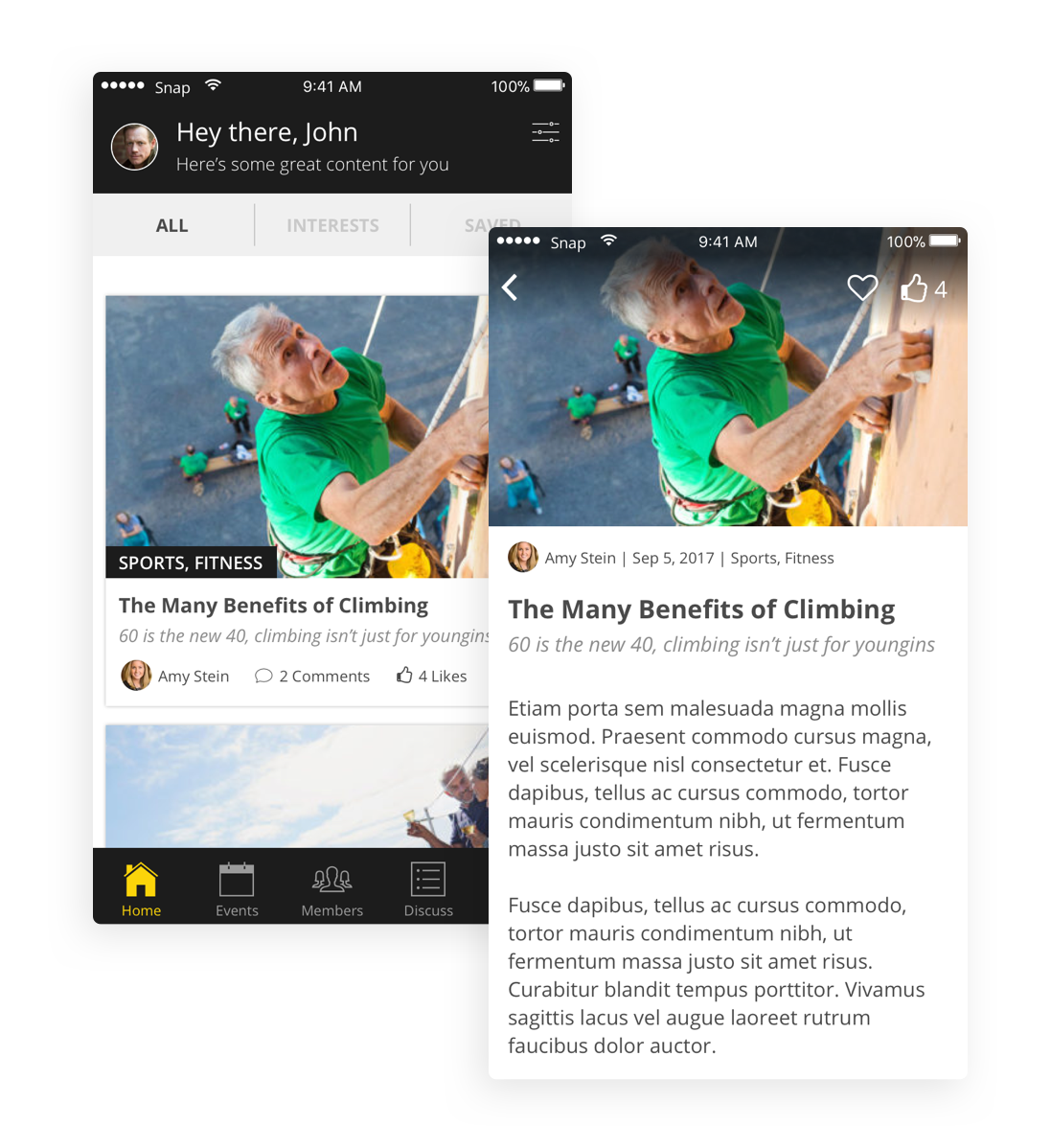 Blog content - The home screen of the app features content created by The Beo Club or submitted by members. Easily filter by interests, save articles to favorites, and comment on a post.