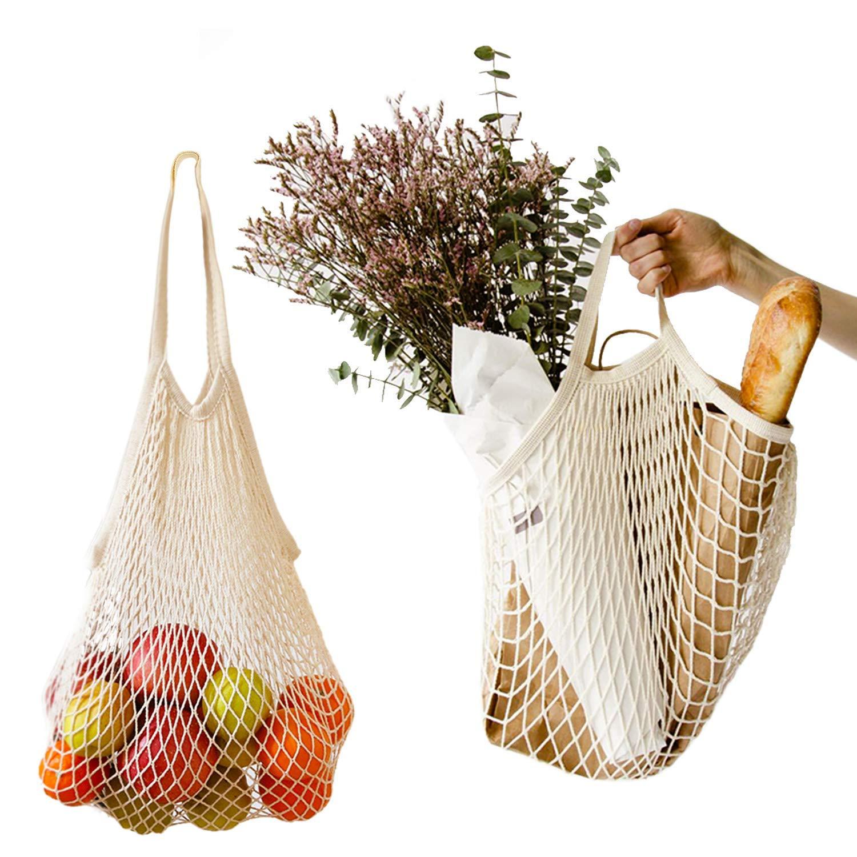 2Pcs Net Shopping Bags Mesh Reusable Shopping Tote for Grocery Shopping