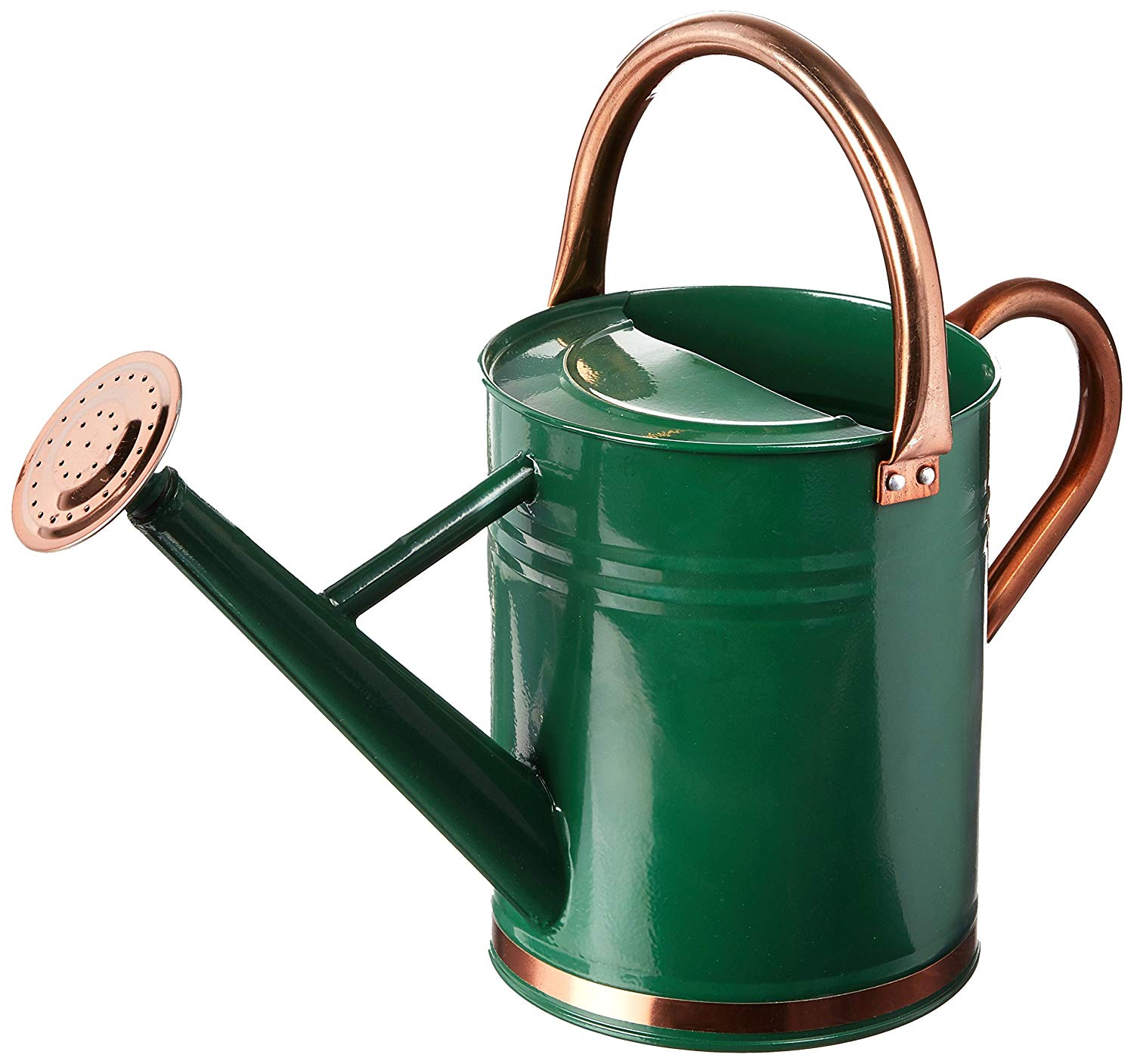 Hunter Green Galvanized Steel Watering Can with Copper Accents