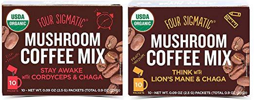 Four Sigmatic Mushroom Coffee Mix Pack of 2 - Lion's Mane and Chaga & Cordyceps and Chaga
