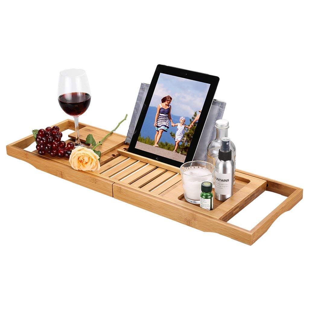 LANGRIA Bath Tray Bamboo Bathtub Caddy with Extending Sides
