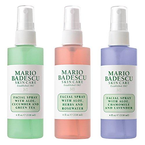 Mario Badescu Spritz Mist and Glow Facial Spray Collection, 3 Piece Set - Lavender, Cucumber, Rose
