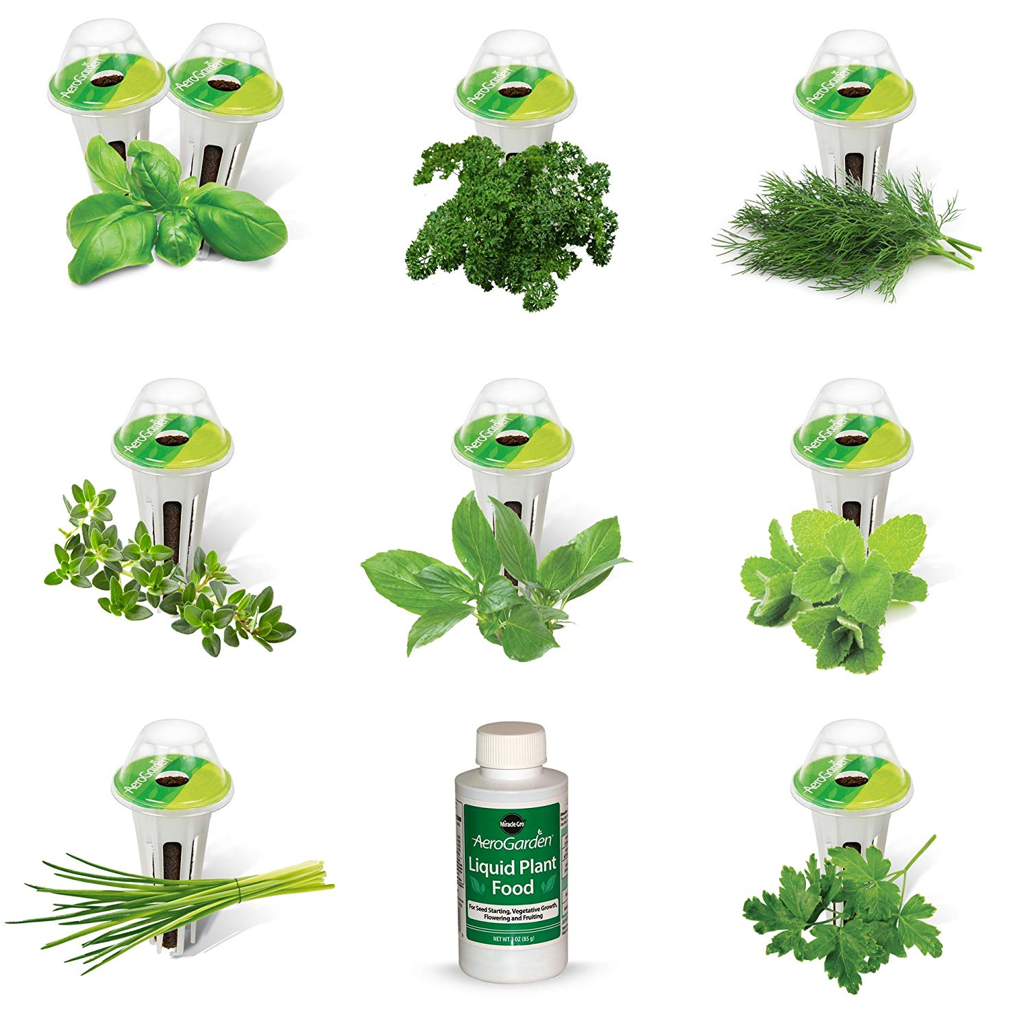 $13.00 AeroGarden Gourmet Herb Seed Pod Kit (9-Pod)  The Gourmet Herbs 9-Pod Seed Kit includes: Genovese Basil (2), Thai Basil, Curly Parsley, Thyme, Chive, Mint, Dill, and Italian Parsley