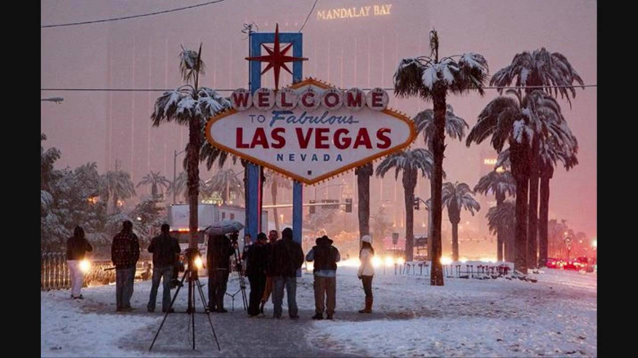 News stations gathered around the Las Vegas sign to capture the history.
