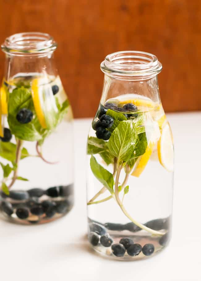 One of my favorite ways to get the health benefits of blueberries is to make blueberry infused water to fuel my body with antioxidants! For more infused water recipes  click here.