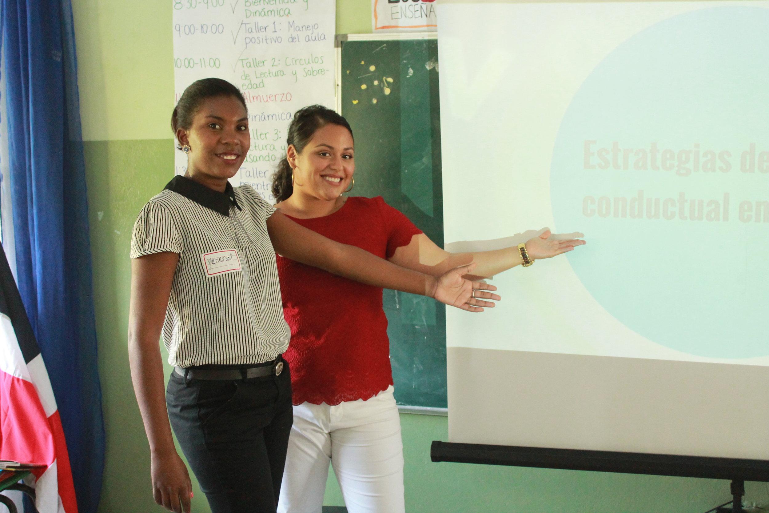 Zaira and her co-teacher presenting on classroom management.
