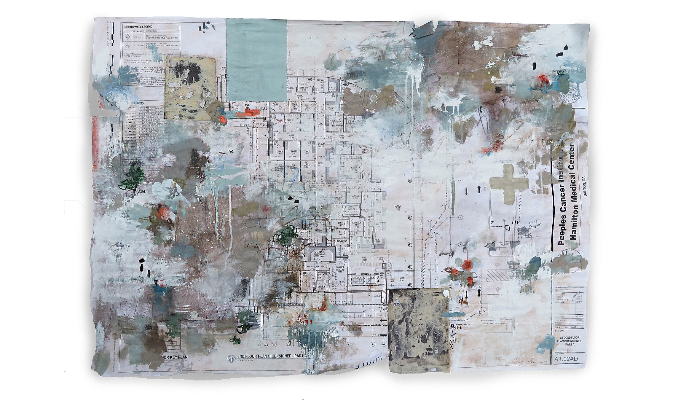 """Commission  """"Peeples Cancer Institution"""" Mixed Media on Original Blueprint 