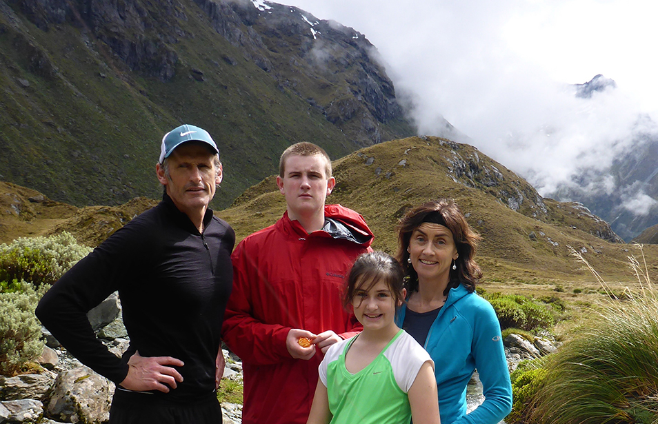 Graham, Roz and family hiking the Routeburn Great Walk and National Park