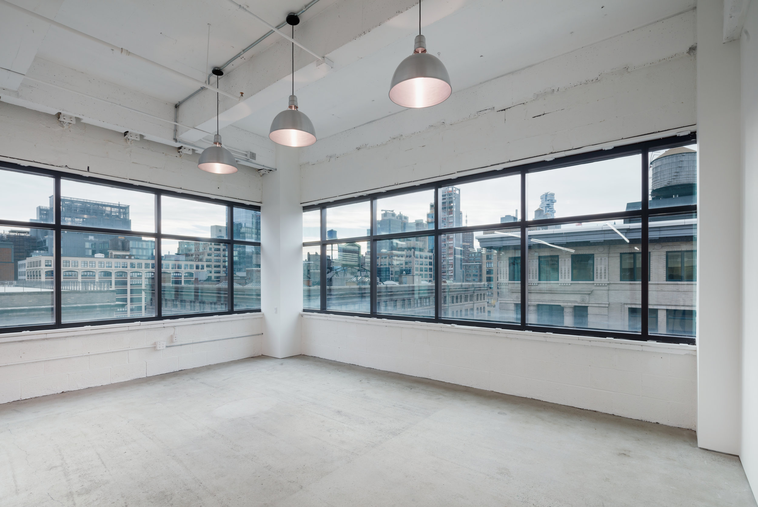 Windows with view in vacant office space