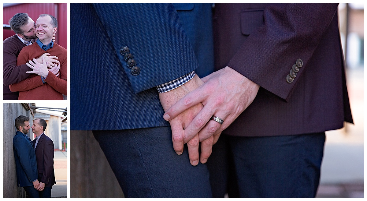 close up of engagement rings and engaged couple posing