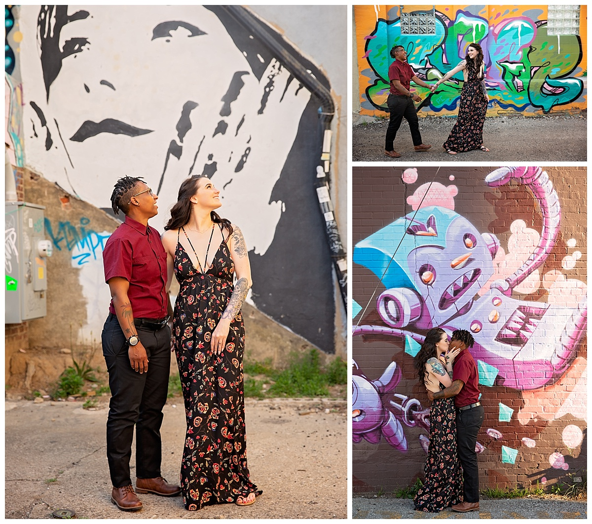 engaged couple posing in front of street art