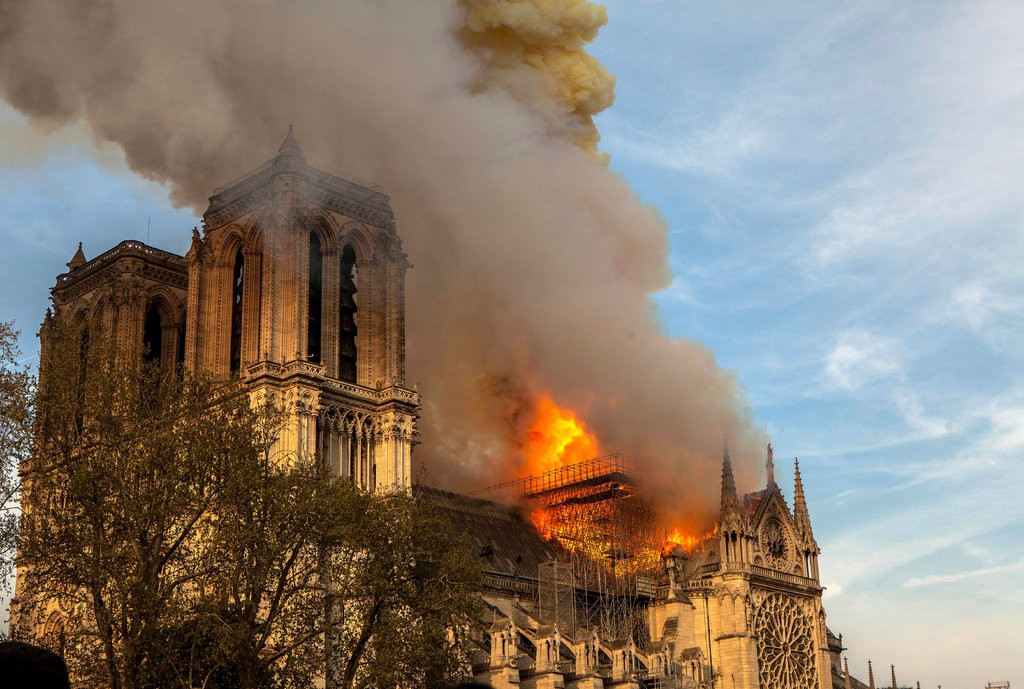Notre-Dame Cathedral in flames. Image credit: Vanessa Pena/Associated Press via  New York Times