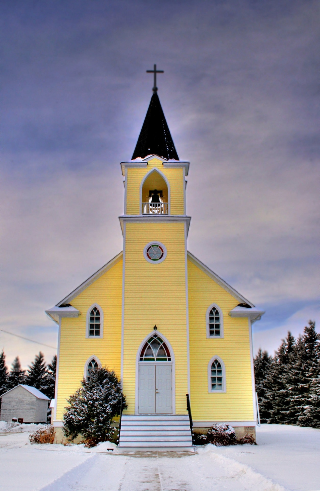 Yellow Country Church in Winter