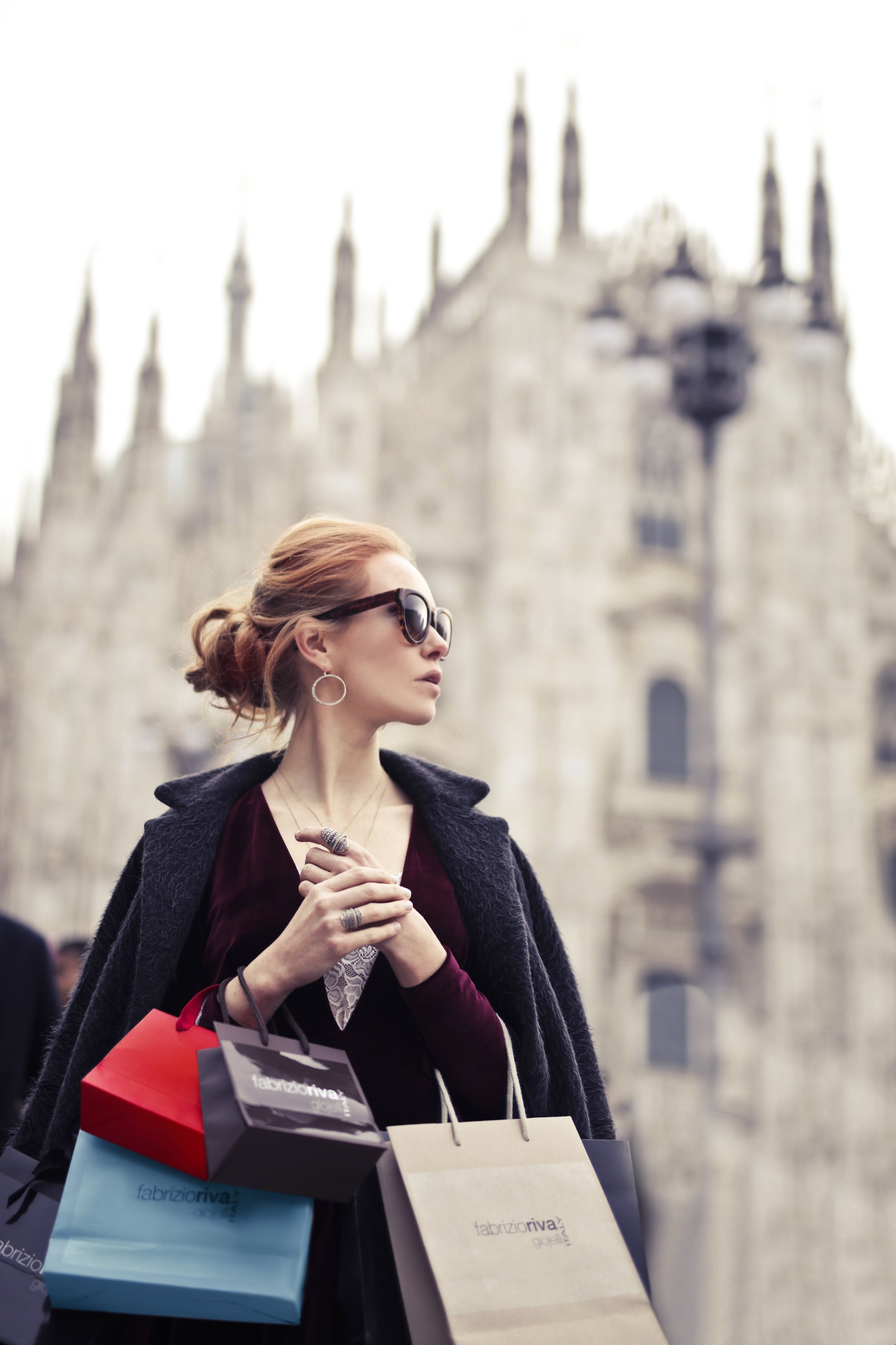 Shopping Woman in Front of Church