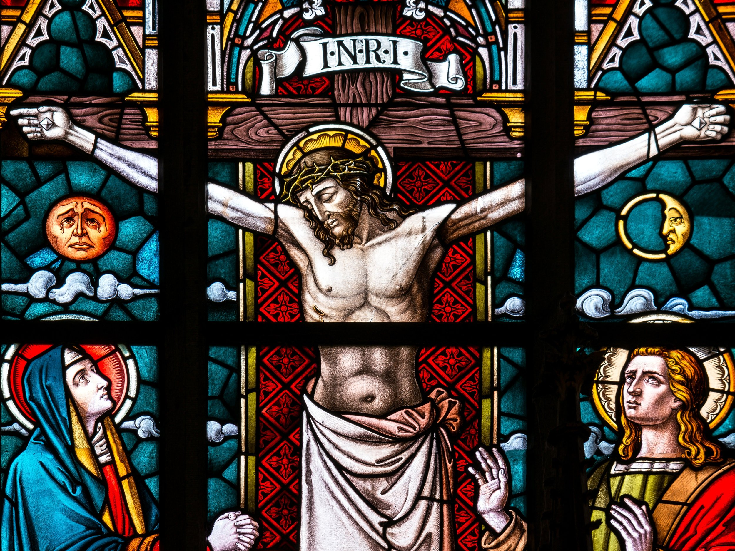 Jesus on Cross Stained Glass in National Cathedral