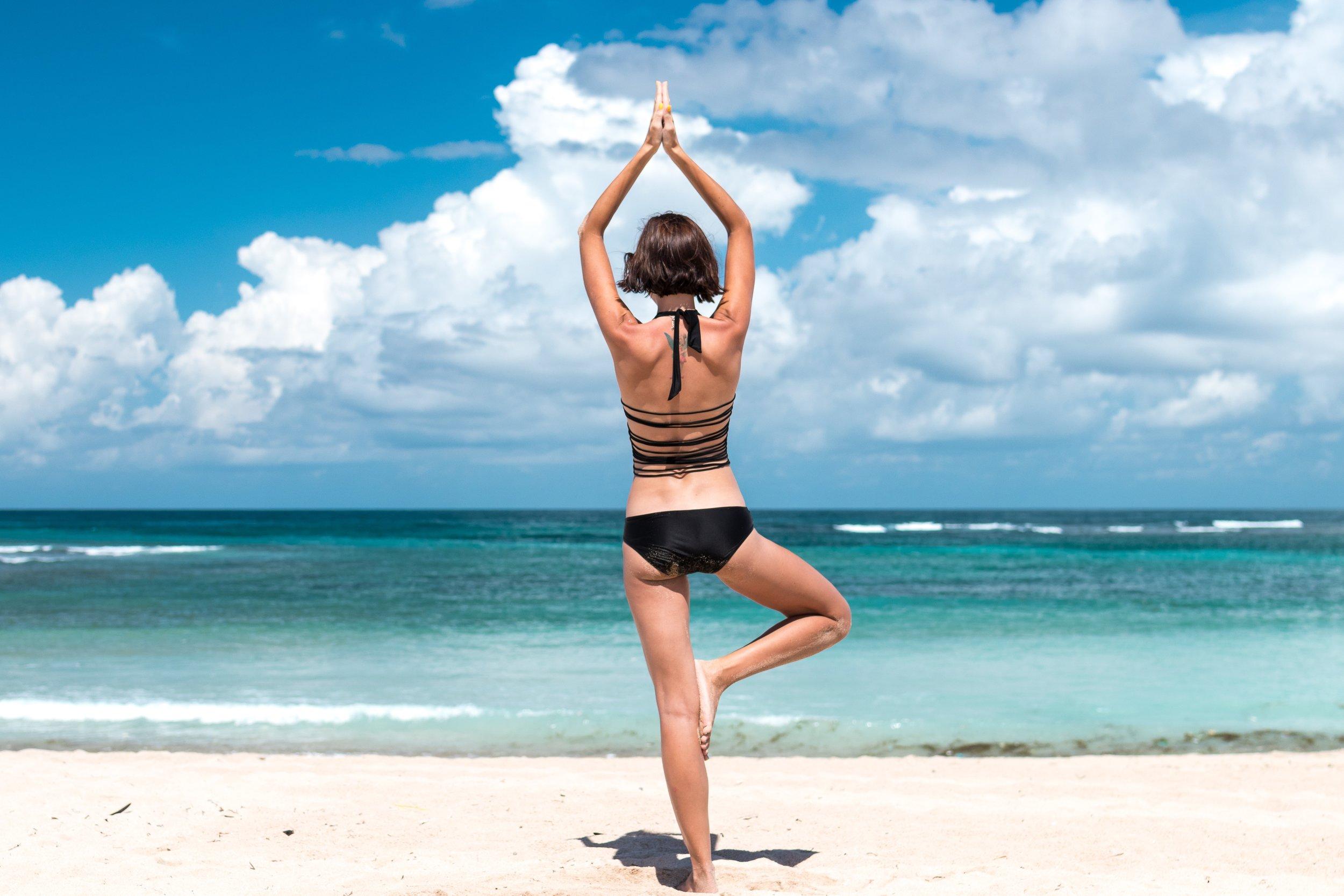 Woman on Beach Yoga