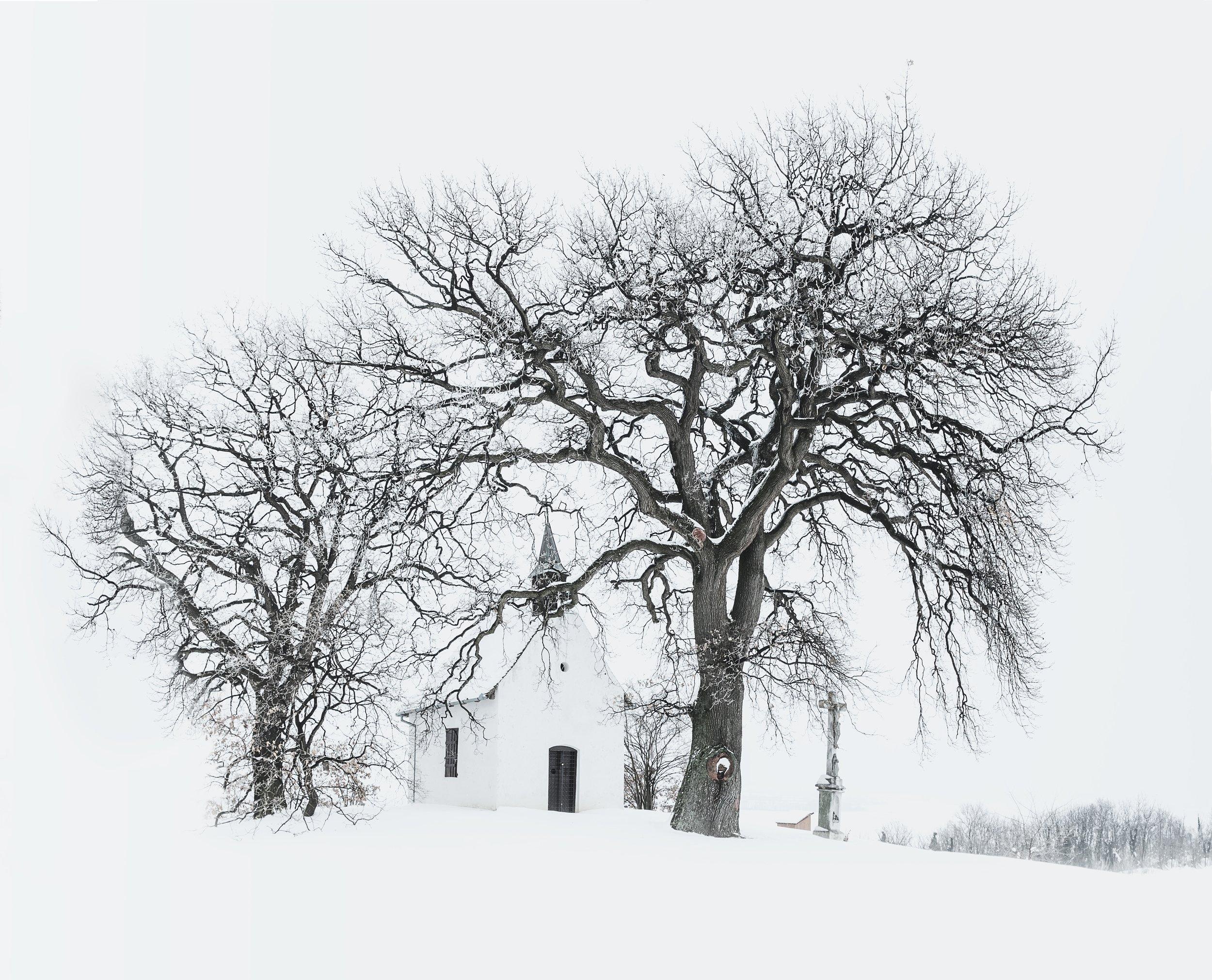 Bleak Winter Scene with Church in Background