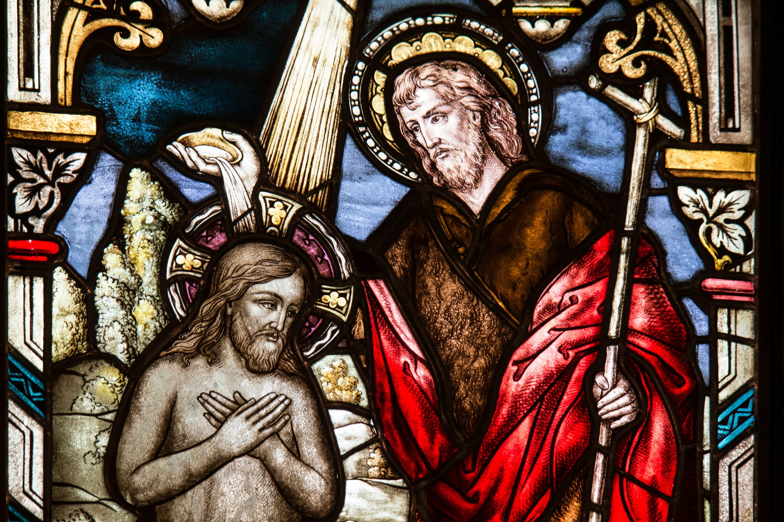 John the Baptist Baptizing Christ Stained Glass Window in Church