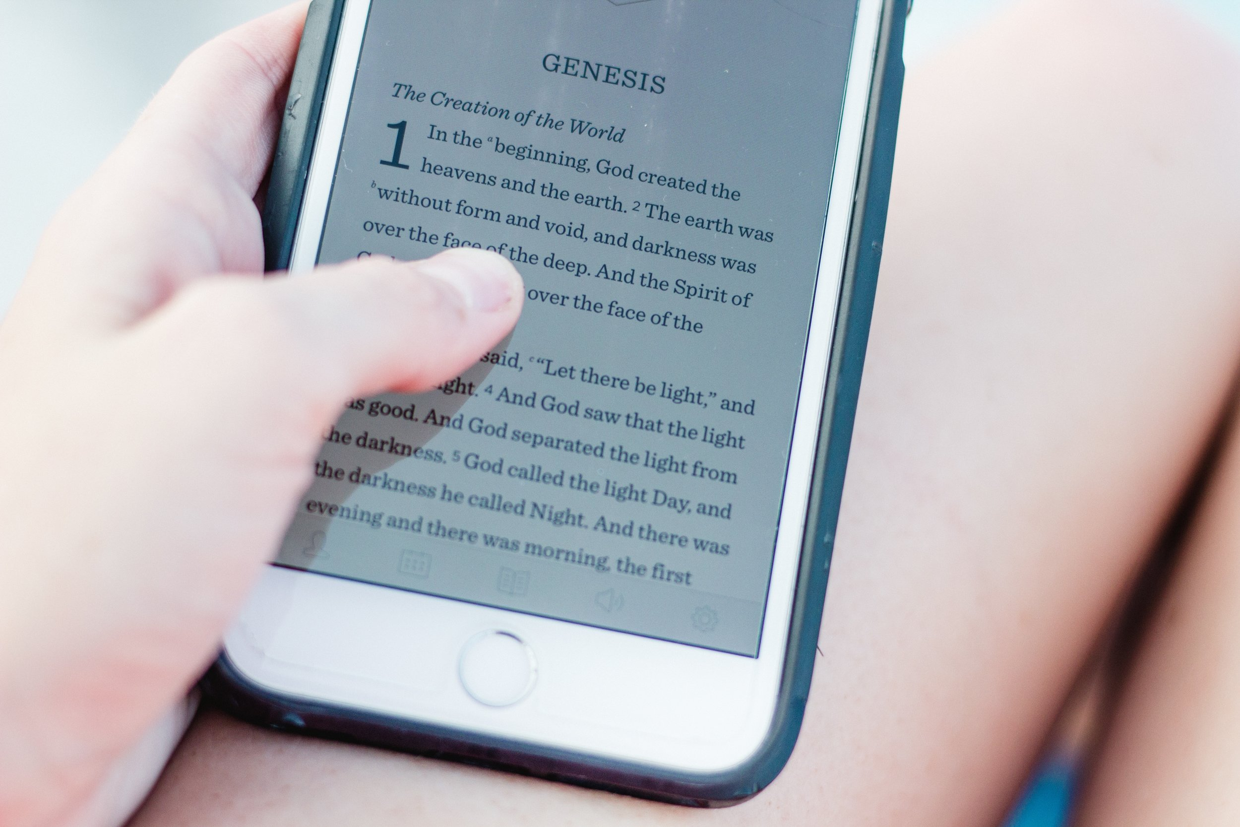 Girl Holding Smartphone Scripture