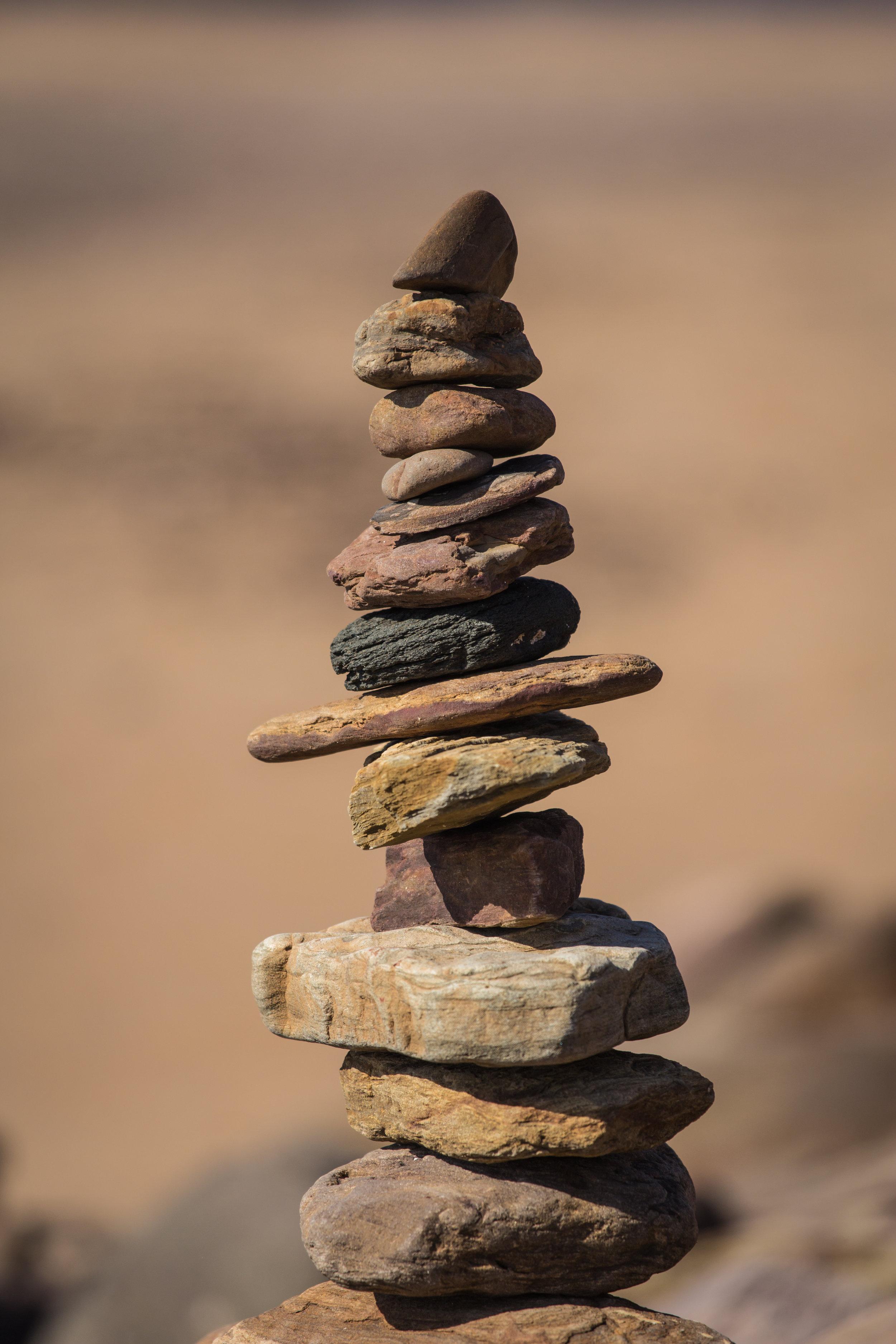 Tower of rocks on beach