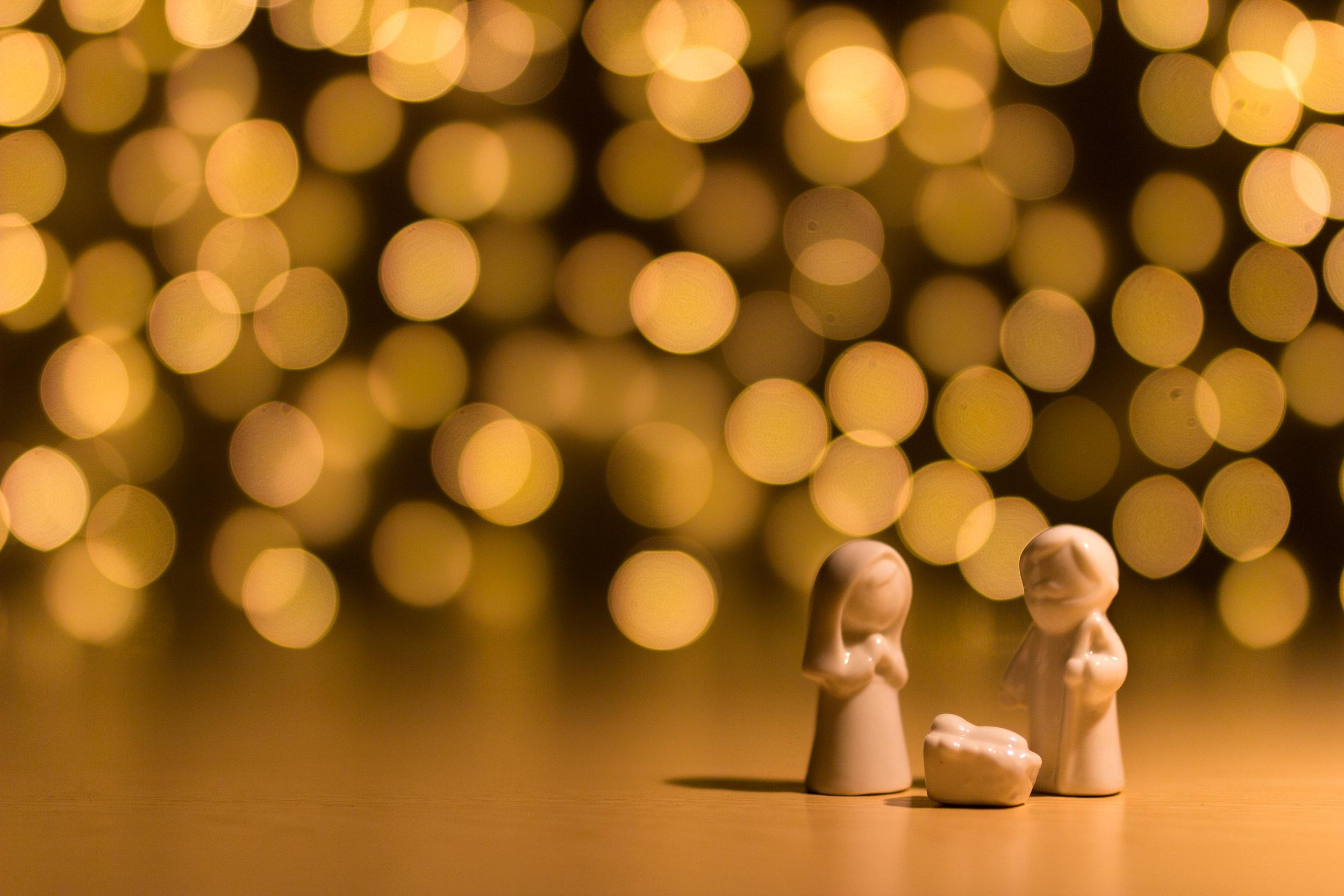 Christmas lights. Mary & Joseph