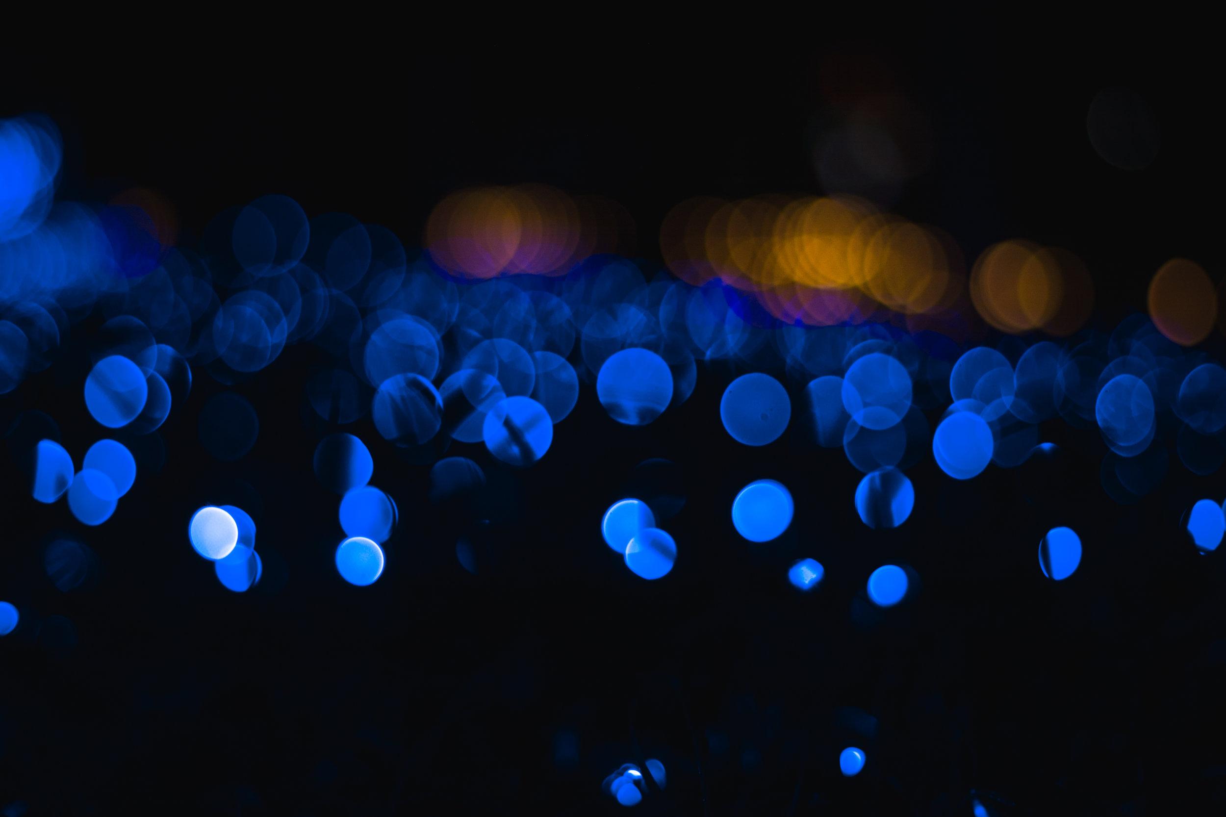 Christmas Lights. Blue.