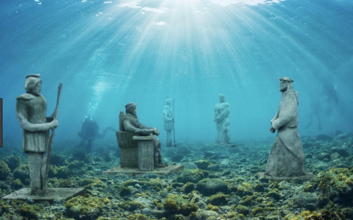 Underwater stations of the cross on coast of Croatia