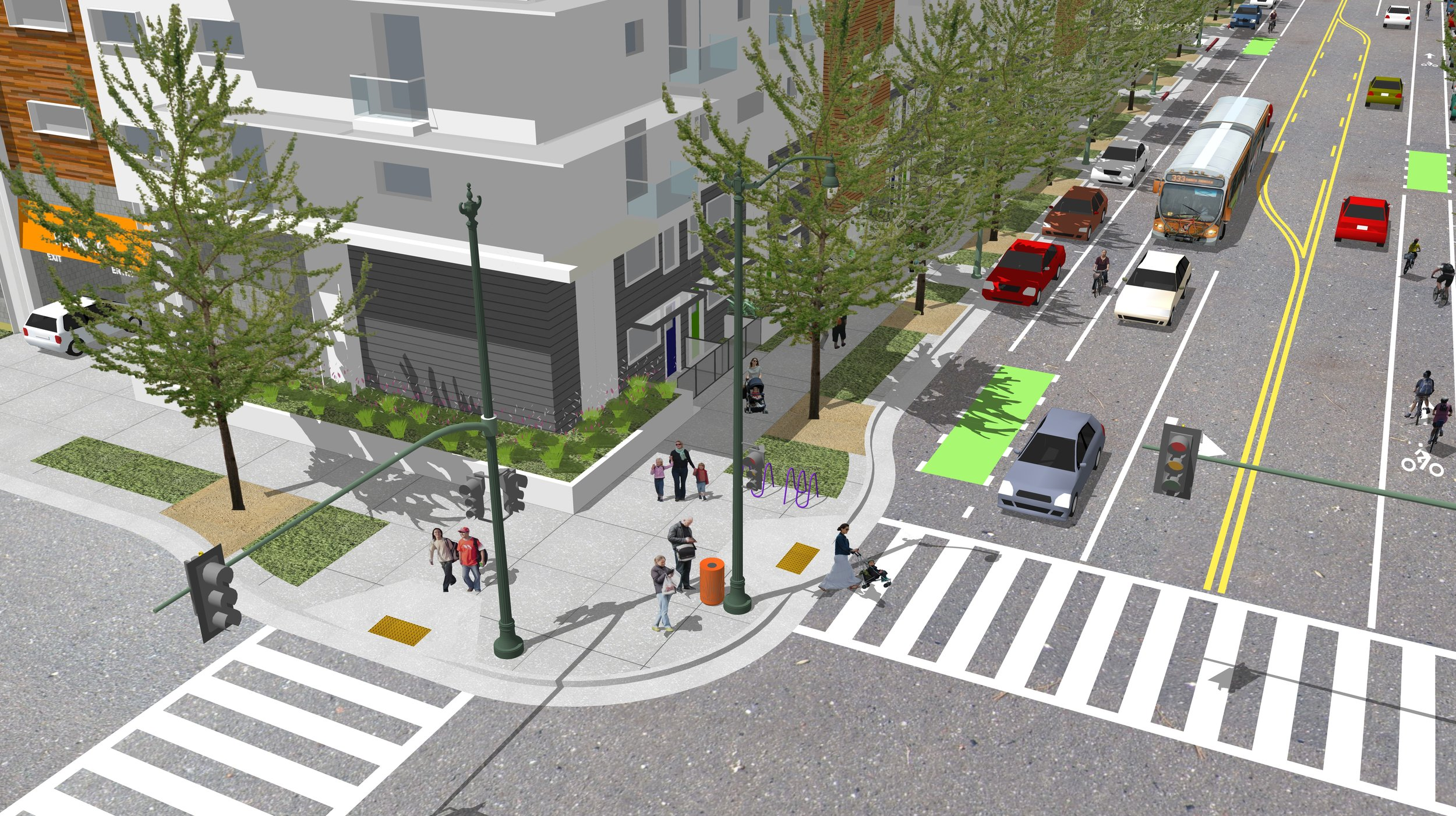 5B_56ft Avenue_Bicycle Priority_Unprotected_Residential 15ft sidewalk_3D_Curb Extension.jpg
