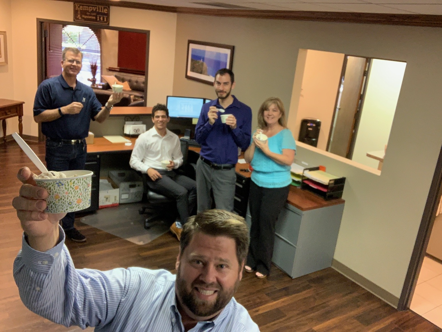 The KFM Team (Rob, Otto, Wyatt, Lissa, and Patrick in front) taking a break from all the hard work to have an impromptu ice cream party.