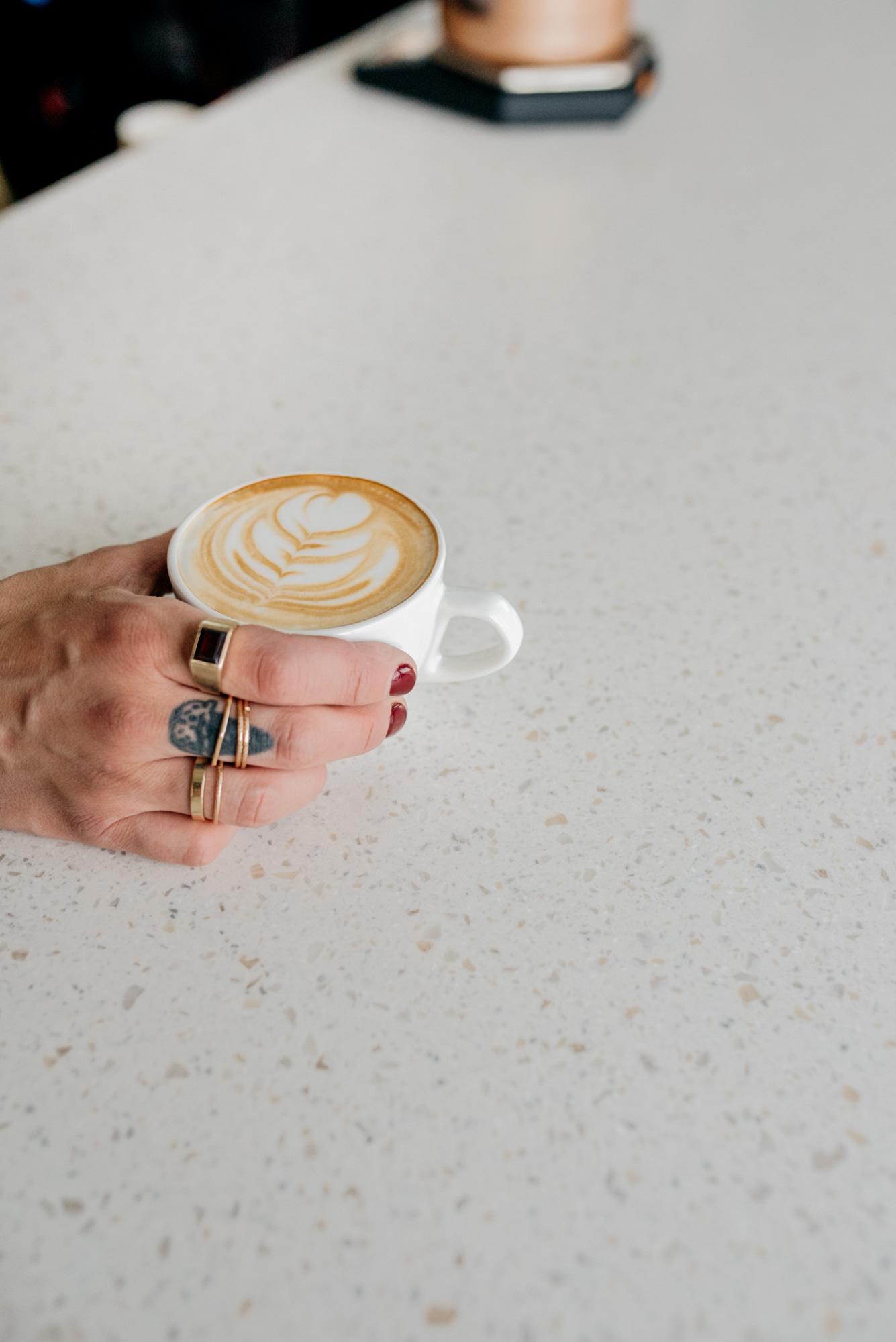 Latte Art On White Counter
