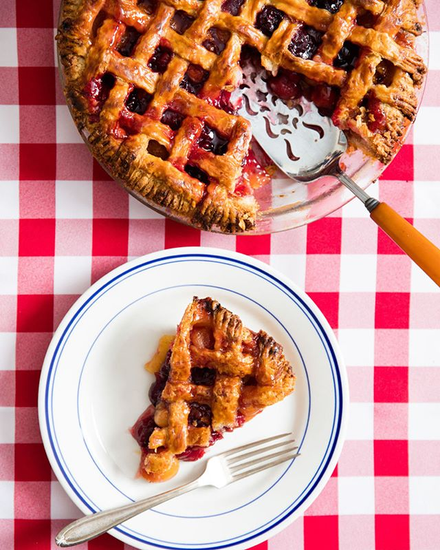 "Cherry pie was the first dessert Stella Parks (@bravetart) ever made for @seriouseats founder Ed Levine (@seriouseatered). ⁣⁣⁣ ⁣⁣⁣⁣ ⁣Ed reportedly ""ate a slice out of hand while standing in the old Grand Street kitchen,"" Stella writes, and, ""said something to the effect of, 'Holy shit, this is fuckin' good!'"" ⁣⁣⁣ ⁣⁣⁣⁣ ⁣Grab the recipe for Stella's Classic Cherry Pie at the link in our bio, and then queue up this week's ""Stars of Serious Eats"" episode—with Ed Levine, J. Kenji López-Alt, Carey Jones, and Maggie Hoffman—while you bake. 🍒🥧 #TalkCookbooks ⁣⁣⁣ ⁣⁣⁣⁣ ⁣—⁣⁣⁣ ⁣📷: @victakespics"