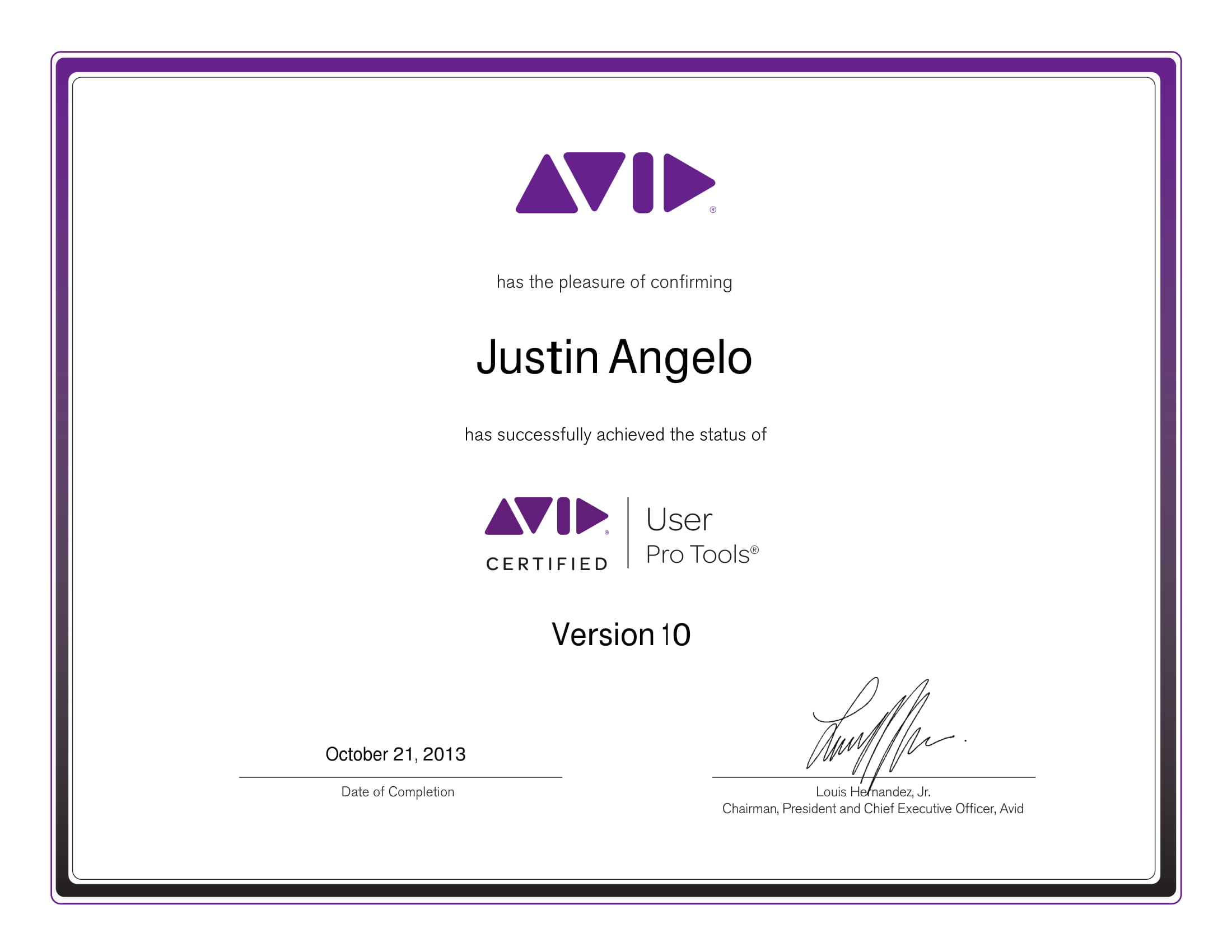 Avid Certification for Pro Tools Audio Engineering  - 10.21.2013