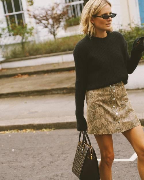 Snakeskin Mini-skirt with black sweater -