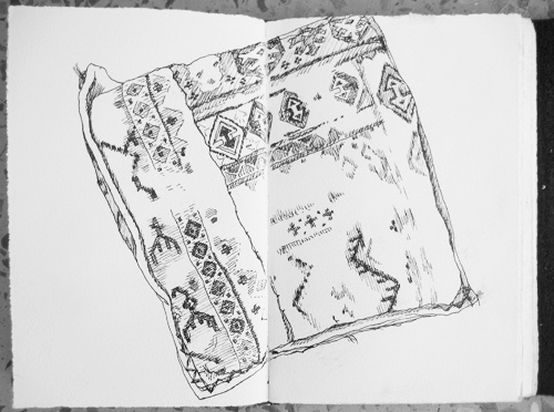 Sketch of kilim pillow in my apartment.