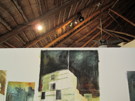 Views looking up toward the thatched roof of the studio.