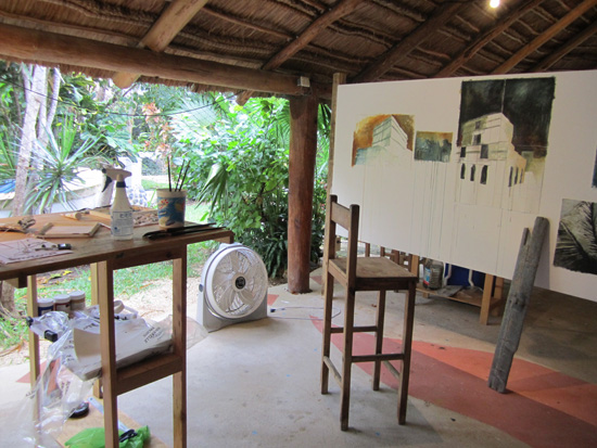 View of my open air studio in the palapa at Ondarte Residency