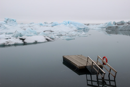 Glacier lagoon, Iceland - dock and life preserver.