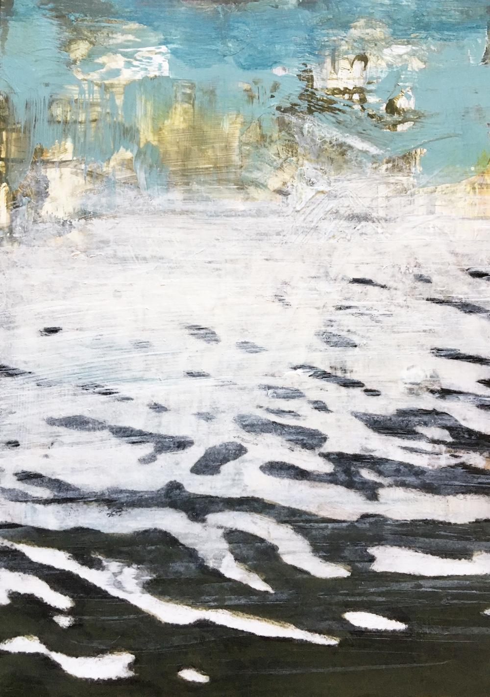 """30 Days of Aqua - #2 - Acrylic, toner on panel 7"""" x 5"""" x .75"""" 2018"""