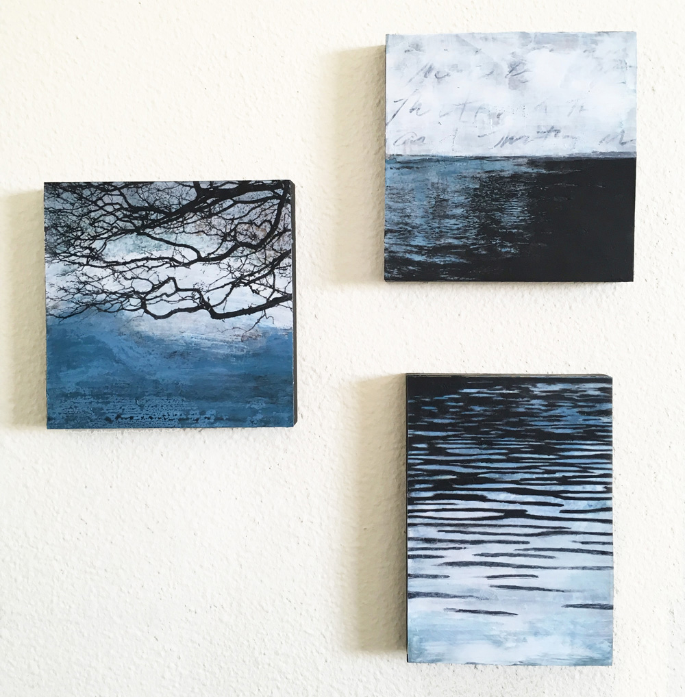 """30 Days of Aqua #11, 12, 14. 6""""x6""""x.75"""" and 7""""x5""""x.75"""" Acrylic, toner on panel. ©Amy Guion Clay"""