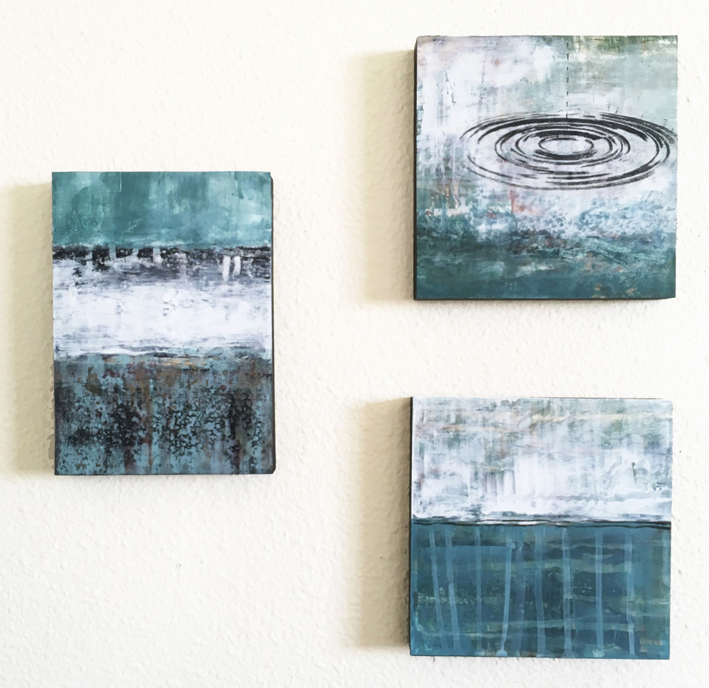 """30 Days of Aqua #24, 7, 16. 6""""x6""""x.75"""" and 7""""x5""""x.75"""" Acrylic on panel.©Amy Guion Clay"""