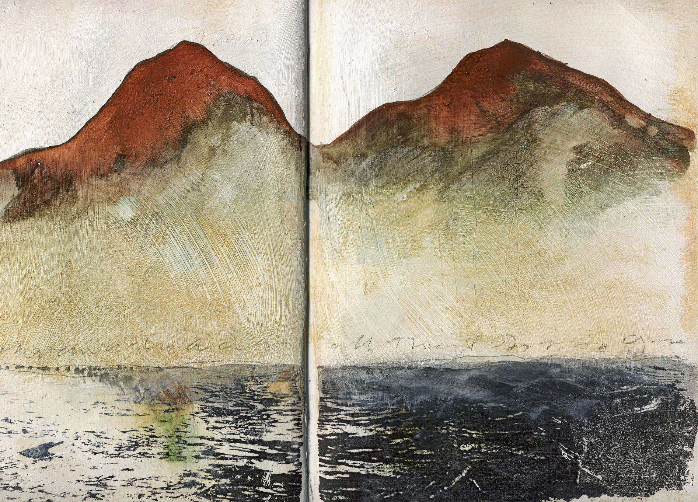 One of my favorite entries - I was in southern Colorado at a friends artist retreat called Mountain Water. The mountains were inspired by the Spanish Peaks but no such water like this exists in that arid region.