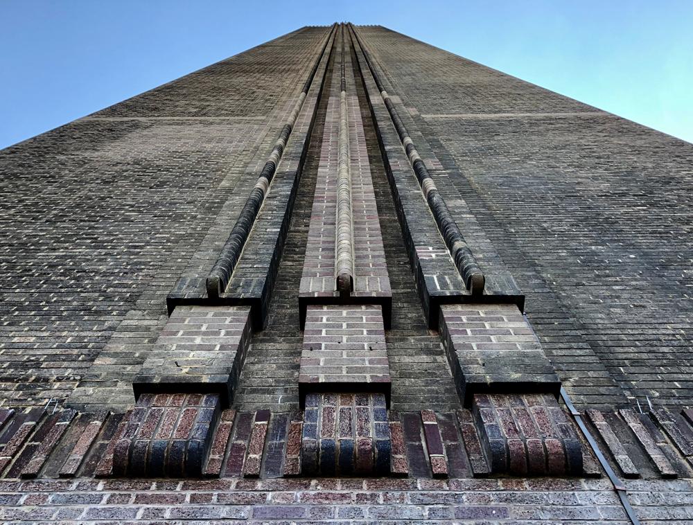 The beautiful brickwork detailing on the Tate Modern Chimney.