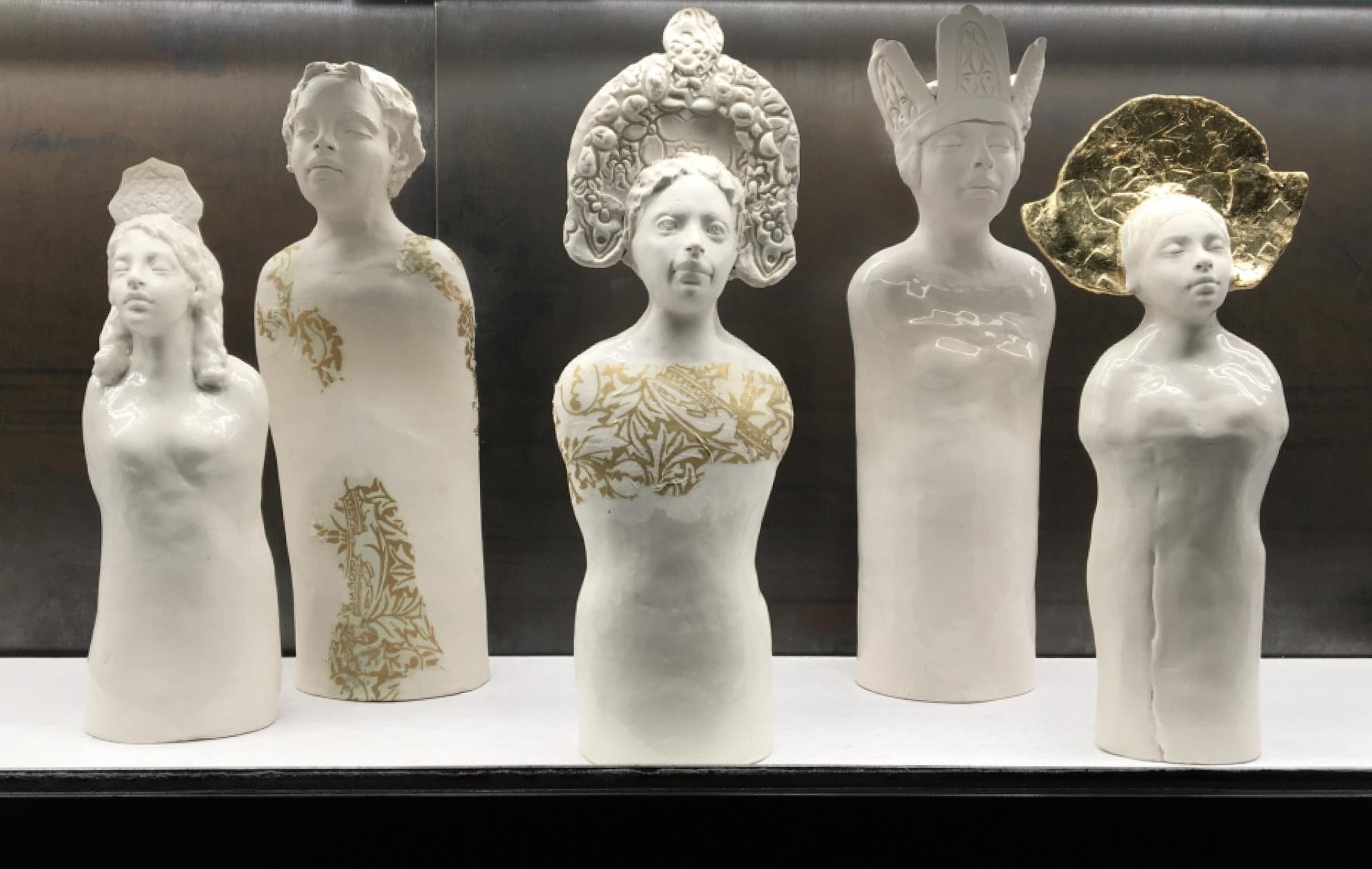 A group of Caroline's porcelain sculptures.