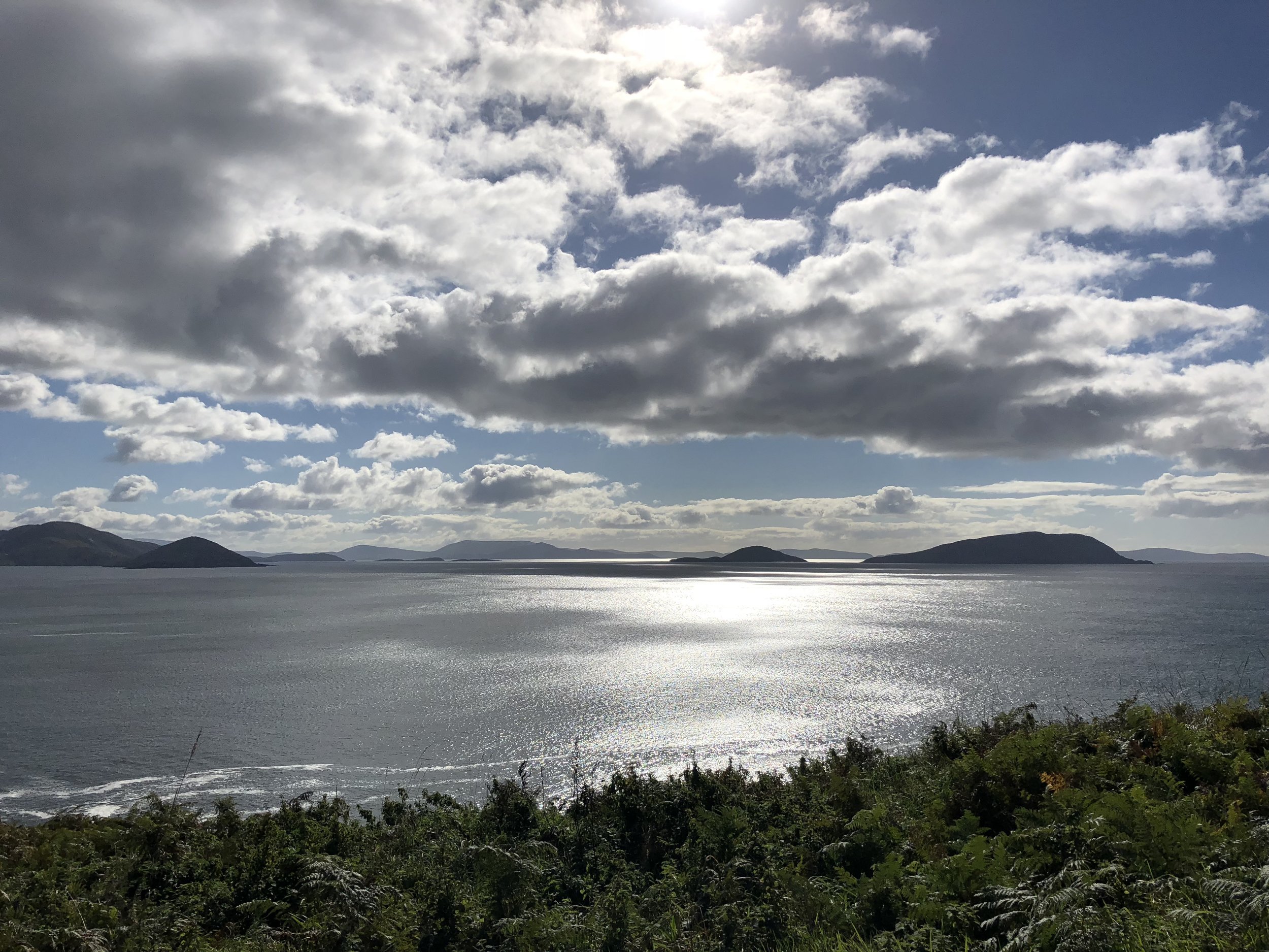 The morning light on Ballinskelligs Bay - view from my cottage.