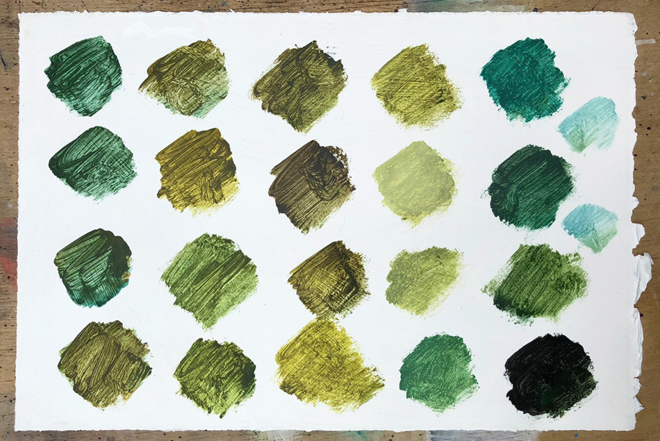 Painted swatches of the myriad greens and aquas in my world in Ireland.