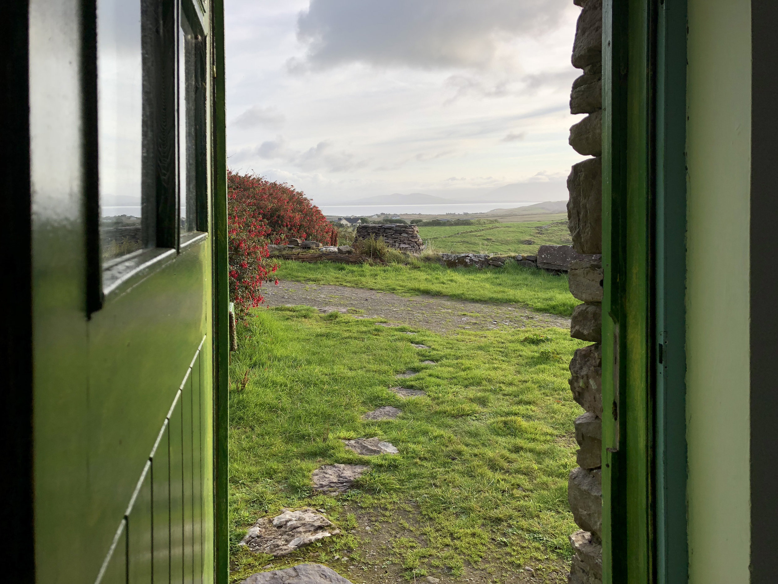 The view looking out my cottage door at Cill Rialaig Artist Retreat in Ballinskelligs, Ireland. Oct. 2018