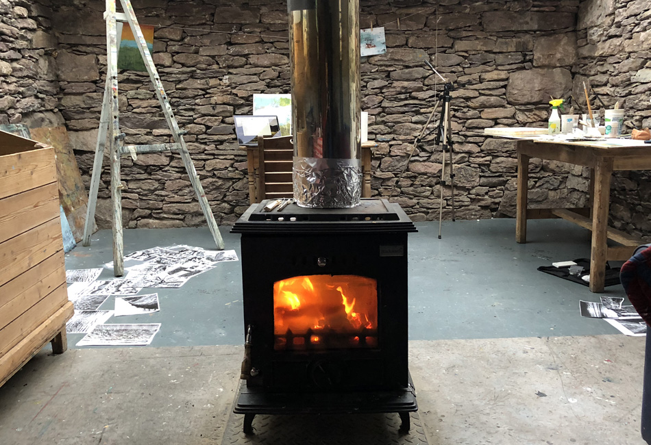My peat burning stove in my cottage was ablaze most evenings.