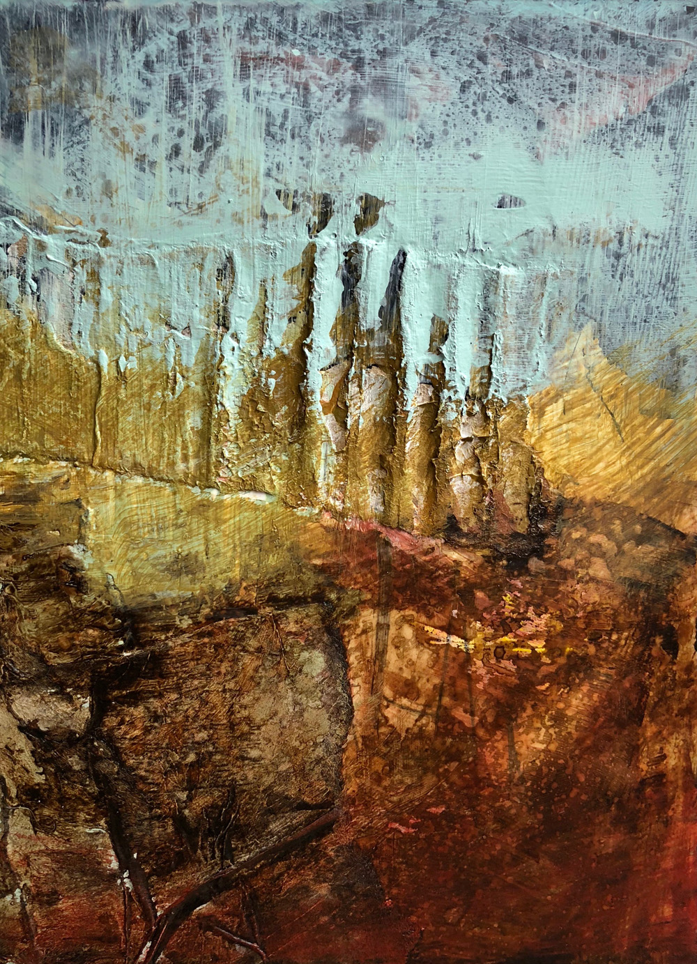 A painting inspired by the Bog. Deep Burnt Siennas and Umbers and yellow golds.