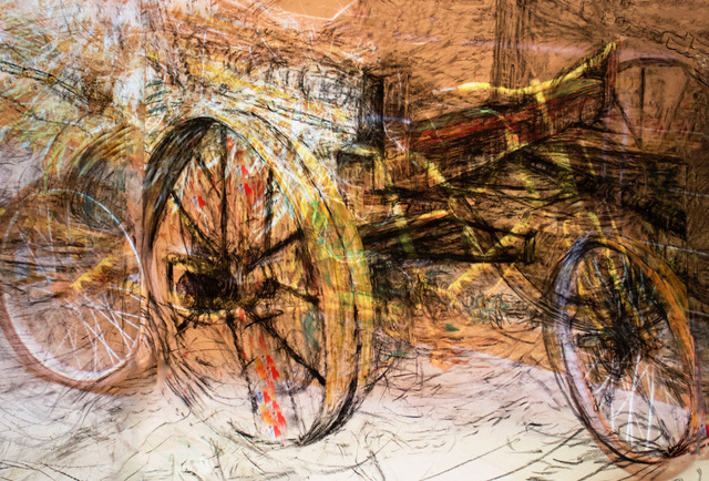 """Bike Dream Static"" charcoal, pastel archival digital print, 30"" x 40"""